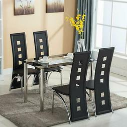 5 Piece Dining Set Glass Top Table and 4 Leather Chair for K