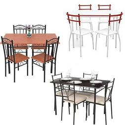 iKayaa 5 Piece Dining Set Table and 4 Chairs Kitchen Room Br