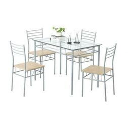 5 piece dining table set silver glass