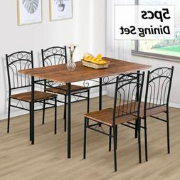 5 Piece Metal Dining Table Set 4 Chairs Wood Top Kitchen Din