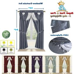 "Window 5 Piece Curtain Set 2 Panels Valance Tieback 54"" x 84"