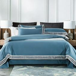 Home Hotel Style White Grey Bedding Set Silky Soft Cotton Be