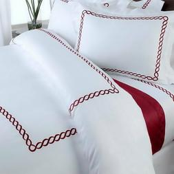 Modern Hotel 5-Piece Embroidered Design Duvet Cover Set Whit