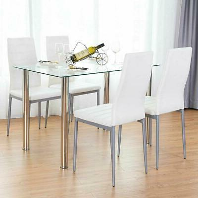 5 Piece Dining Table Set Glass w/4 Chairs Breakfast Furniture
