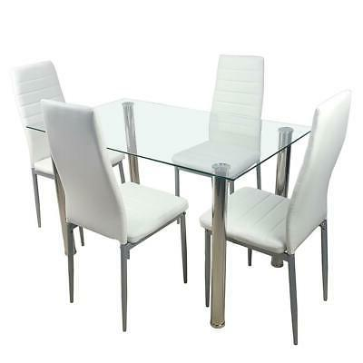 5 Dining Table Set Glass Steel Chairs Room Breakfast Furniture
