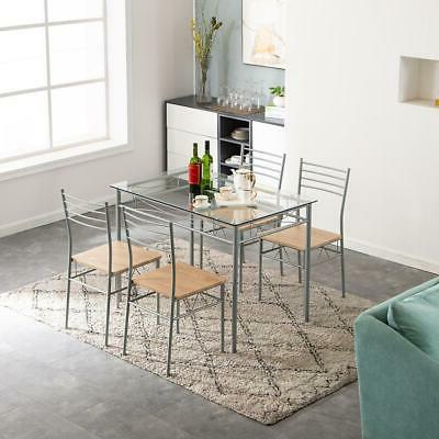 5 Piece Dining Set Glass and 4 Chairs Kitchen