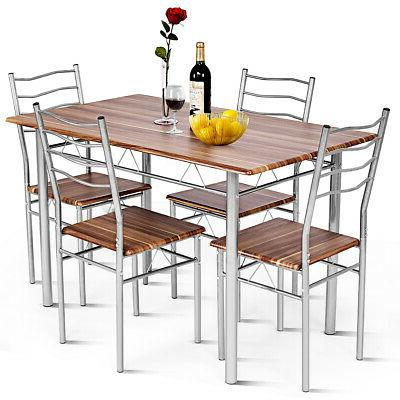 5 piece dining table set wood metal