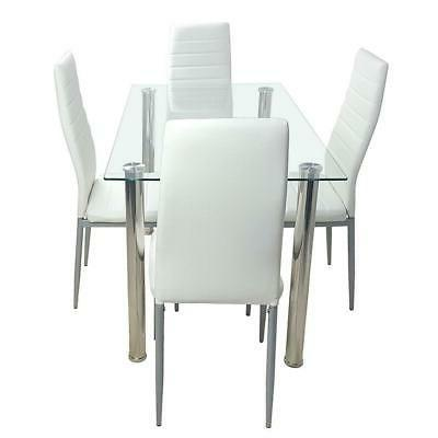 WHITE GLASS 4 FAUX LEATHER DINNING SET