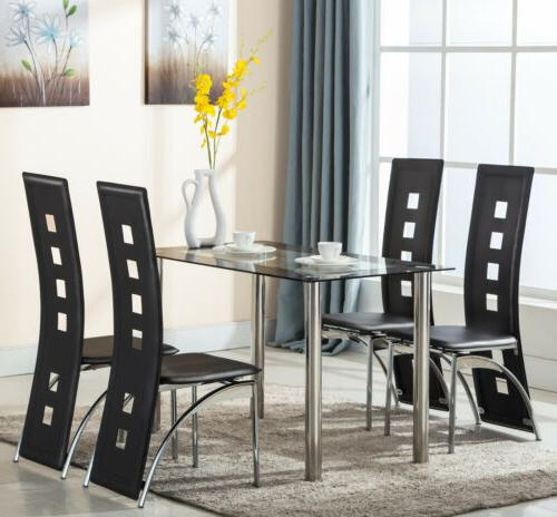 5 PCS Dining Table and 4 Chairs Set For Kitchen Dining Room
