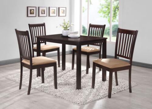 Kings Brand Cappuccino Finish Wood 5 Piece Dining Kitchen Se