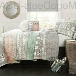Llama Striped Quilt Reversible 5 Piece Bedding Set - Full/Qu