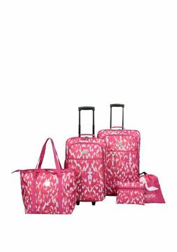 NEW Modern. Southern. Home. Tie Dye 5 Piece Luggage Set PINK