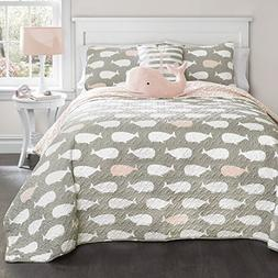 Whale Quilt Pink 5-Piece Set, Full/Queen